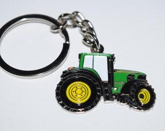 Green Tractor Keyring - Enamel