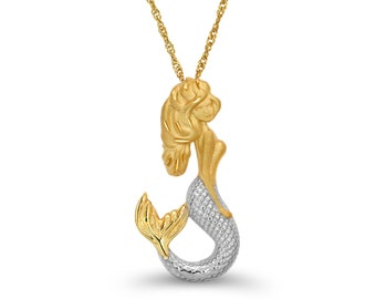 "14k solid gold Two Tone Mermaid pendant with 18"" chain.. sealife jewelry, mermaid jewelry,"