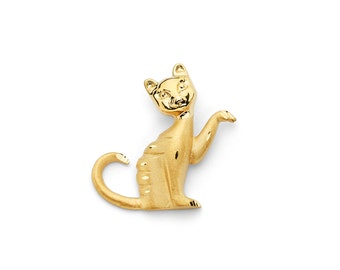 14K Yellow Gold Cat Slide Pendant, Cat, Gold Cat, Cat Pendant, Gold Pendant, Cat, Animals, Animal Jewelry, Animal Pendant, Slide Pendant