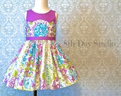 Girls Easter Dress, Toddler Easter Dress, Special Occasion, Church, Sunday, Wedding, Lavender Print, Sizes 2T - 8 by 8th Day Studio
