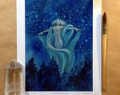 """RESERVED for (bea97) Asteria//Nymph//Stars//Watercolor//Painting//Illustration//8x10""""//Print"""