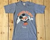 Vintage 80s Mickey Mouse Florida Velva Sheen Soft Blend T Shirt - Small