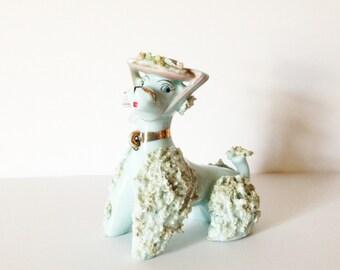 OH POODLE.... Blue spaghetti Poodle, Mid Century figurine, Blue porcelain Poodle, Poodle collector, Poodle Lover