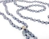 Mala Beads Long Bead Necklace Jade Mala Necklace 108 Meditation Prayer Beads Tassel Boho Jewelry Gray Mountain Jade Yoga Jewelry