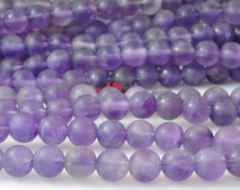 62 pcs of Natural Amethyst matte round beads in 6mm