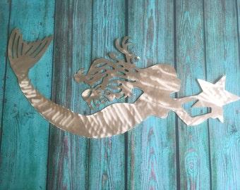 """Metal Mermaid, 42"""" wall art, for home or garden, indoor or outdoor, aluminum, will not rust"""
