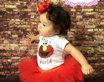 Elmo tutu, elmo birthday, elmo birthday party, Elmo birthday shirt, Elmos World Birthday, elmo birthday outfit, elmo birthday tutu