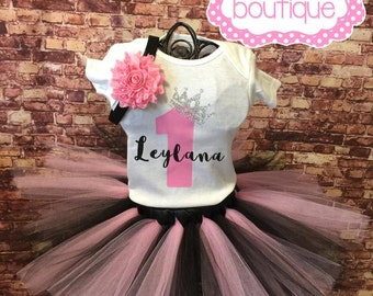 Pink and black birthday outfit. Pink and black tutu. Birthday tutu outfit. Pink and black birthday tutu. Princess birthday party.