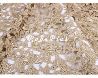 Champagne Lace Fabric - Champagne Embroider Lace - Champagne Floral Embroidered Lace - Floral Champagne Lace Fabric  - L160a