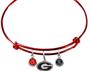 Georgia Bulldogs FSU COLOR EDITION Wire Charm Expandable Bangle Bracelet w/ Red & Black Crystal Rhinestone Charms - Pick Your Color