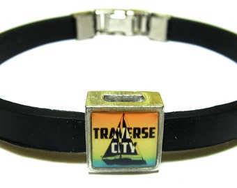 Traverse City Michigan Link With Choice Of Colored Band Charm Bracelet