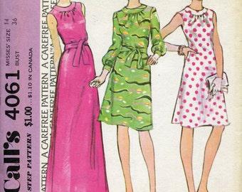 1970s Evening  Dress Pattern McCalls 4061  Dress Long Sleeves Sleeveless Dress Pattern  Womens Sewing Patterns Size 14, uncut