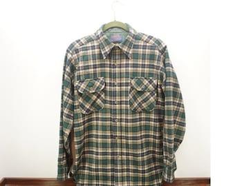 CLEARANCE SALE Vintage 1960's Pendleton 100% Virgin Wool Men's Plaid Long Sleeve Shirt -Size M
