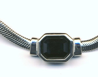 Signed Christian Dior Rhodium Necklace with Jet Black Crystal Pendant New