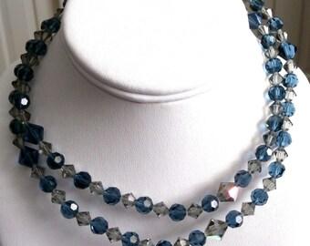 "Swarovski Signed Montana Blue & Khaki Crystal Beads Necklace 30""  (D)"