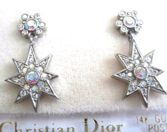 Signed Christian Dior Post Earrings Set with Aurora Borealis Crystals New