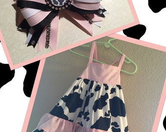 Pink, Black & white cow print dress with matching bow