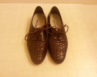 Vintage Woven Leather Lace up Loafers
