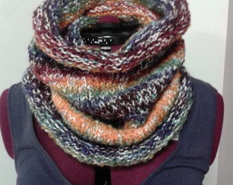 knitted tube scarf, cowl, hat
