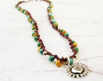 """Sunflower Crochet Necklace ~ Boho Bead Crochet Necklace ~ 18"""" Necklace ~ 18 Inch Necklace ~ Gift for Friend ~ Gift for Her Under 20"""