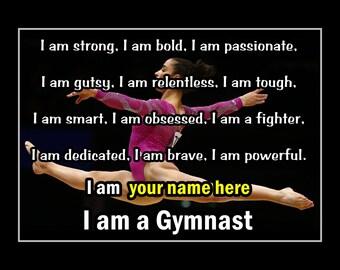 "Personalized Aly Raisman Gymnastics Confidence Poster, Daughter Inspiration Wall Art, Gymnast Motivation Wall Art, 8x10"", 11x14"", Free Ship"
