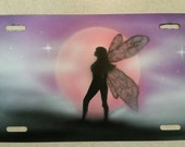 Custom airbrushed fairy license plate customizable tag