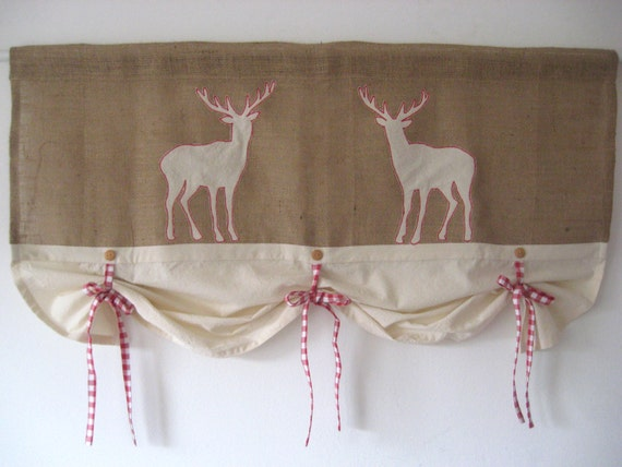 Items Similar To Rustic Burlap Farmhouse Curtains Red Gingham Tie Up Valance Window Treatment