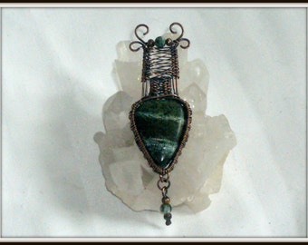 Green Zebra Jasper Oxidized Copper Wire Wrapped Intricate Large Pendant Necklace, crystal jewelry, gift for her, birthday present.