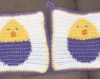 New crocheted pot holder for Easter, easter pot holder, easter decoration, egg potholder