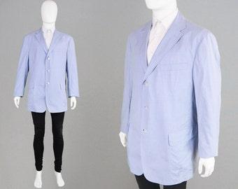 Vintage 80s 90s RALPH LAUREN Polo Lightweight Cotton Blazer Gingham Jacket Mens XL Summer Jacket Nautical Jacket Blue & White 90s Sport Coat