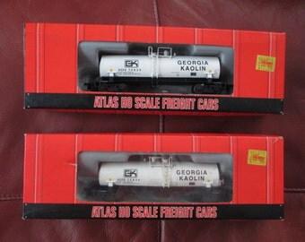 2 Vintage ATLAS model HO train cars Georgia Kaolin Modern tank MIB