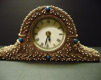 3.00 SALE  ~Mantel Clock -Faux Pearls & Knobby Copper Resin