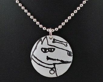 Doggie with Bone Kiln-Fired Enamel Disc Pendant