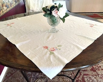 Vintage Embroidered Linen Tablecloth, Martha Stewart Table Topper, Floral Tablecloth, Shabby Chic Table Topper, 35 x 35, Tea Party Decor