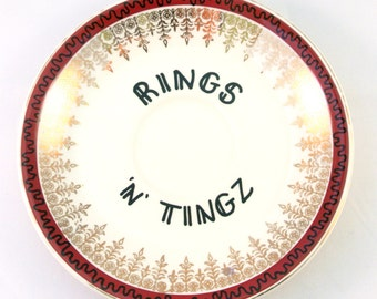 Rings n Tings Floral Ring Holder Vintage China Saucer Earring Trinker Dish Jewellery Storage Ornamental Wall Plate Funny Gangster Ironic