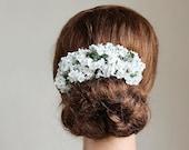 Baby's Breath Hair Vine, Rustic Head Piece, Bun Hair Wrap, Boho Head Piece, Wedding Hair Vine, Woodland Hair Piece, White Flower Hair Vine