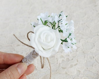 Baby's Breath  Rose  Boutonniere, Rustic Groom Buttonhole, White Rose Boutonniere, Wedding Boutonniere, Men's Lapel Pin, Rustic Boutonniere