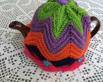 Harlequin Crocheted Tea Pot Cosy with Brown Tea Pot