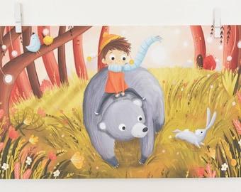 Bear and Boy Print