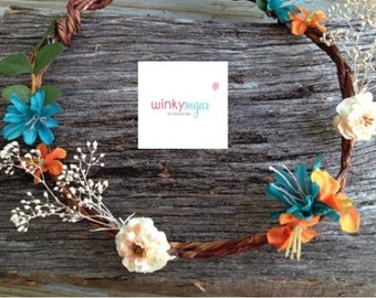Bohemian, Flower Hair Crown, Boho Style, Festival, Hair Crown, Boho Hair Wreath, Hippie headband