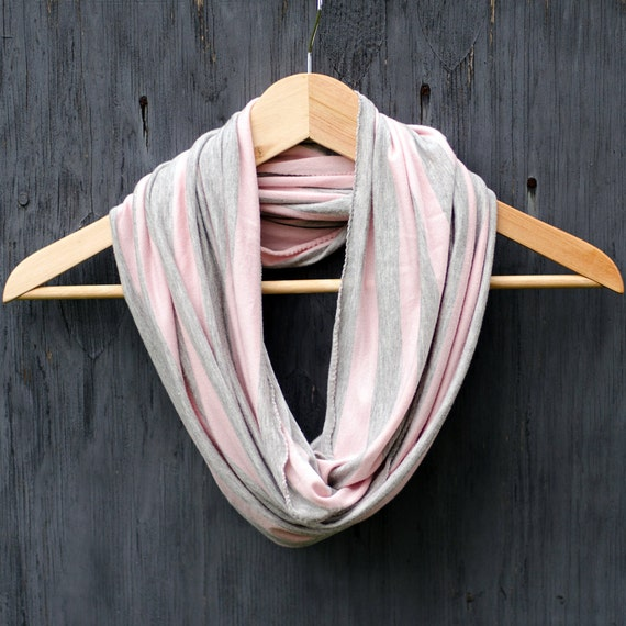 Pink scarf, Jersey knit scarf, Soft pink and grey, Striped infinity scarf, Lightweight scarf, Grey and pink circle scarf, Light jersey scarf