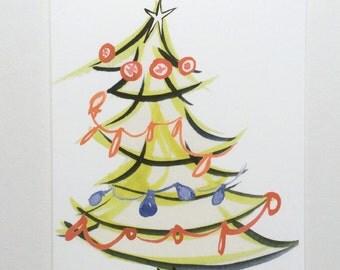 Mod Illustrated Christmas Tree  Christmas Card