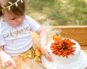 Girls First Birthday Outfits /Gold one birthday outfit /Fall One outfit/Pumpkin patch birthday outfit/Pumpkin outfit