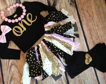 Baby girls birthday outfit / Black pink and Gold first birthday outfit / Black and pink birthday outfit / gold scrap tutu / Pink and Gold