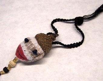 Cute As Can Be Sock Monkey Sewing Needle Emery/Pin Cushion with Acorn Cap - SM2