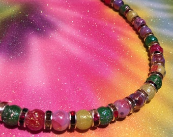 Rainbow Gum Drop Iridescent Beaded Necklace