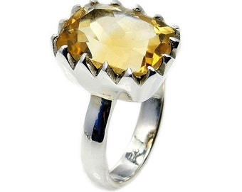Forever Sunshine Citrine Ring  .925 Sterling Silver Ring Size 6.5 Jewelry , AC758 The Silver Plaza