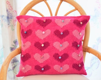 Heart Cushion Knitting Pattern, Heart Pillow Knitting Pattern, Romantic Pillow knitting pattern, PDF download, Valentines Gift knitting
