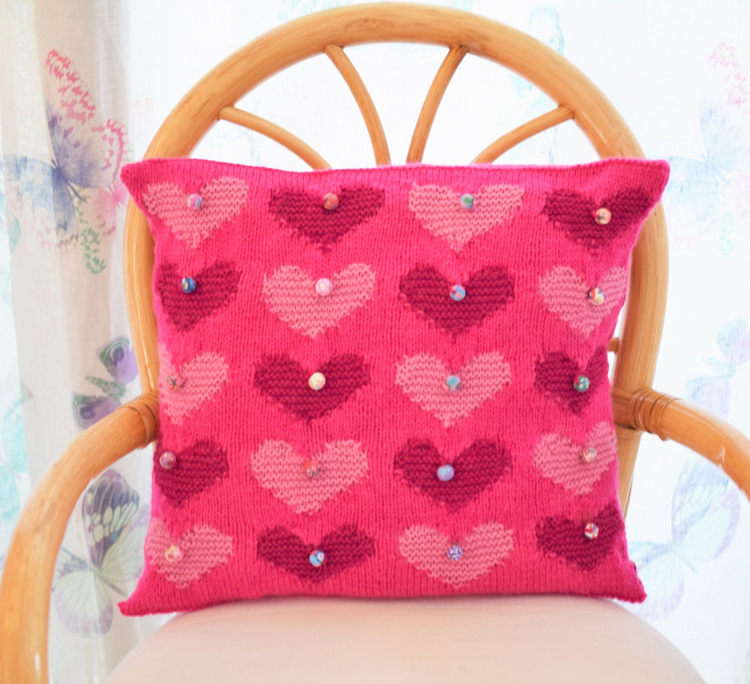 Knitting Pattern Heart Cushion : Heart Cushion Knitting Pattern Heart Pillow Knitting Pattern
