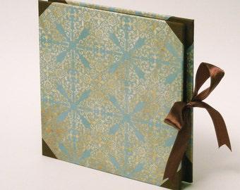 Elegant Medium Photo Album, Scrapbook Album, Blue Brown Paper Canvas, Photoalbum, Gift for Her, Gift for Him